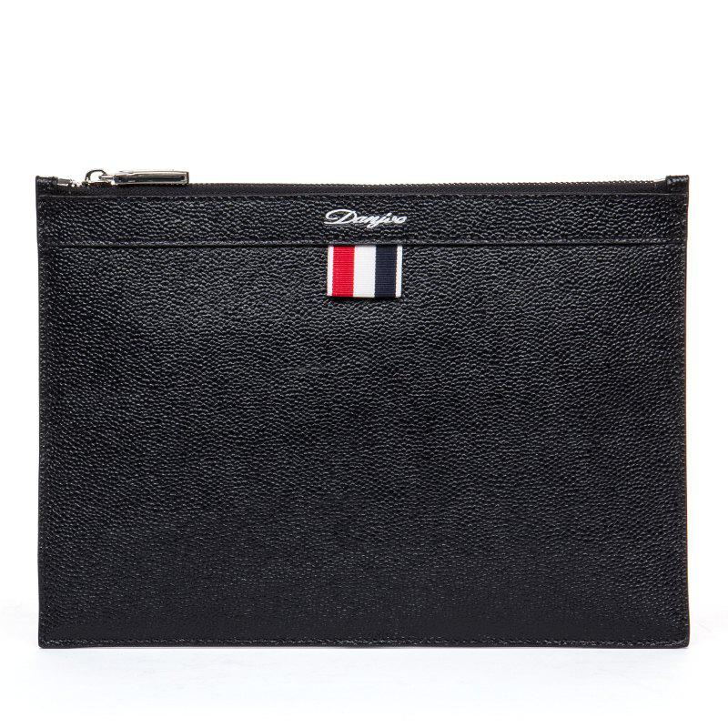 DANJUE Men'S Envelope Bag 100% Genuine Leather Brand Day Clutch Thin Luxury Ipad Mini Handbag Male Casual Business Handy - BLACK