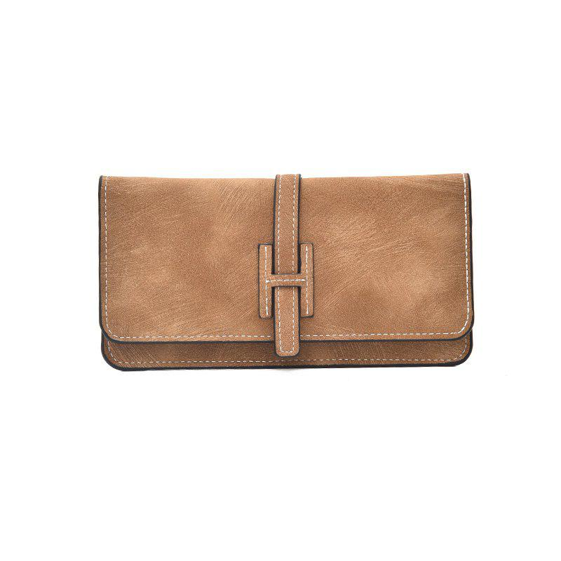 Ladies simple long wallet Women's letter gradient color clutch - BROWN