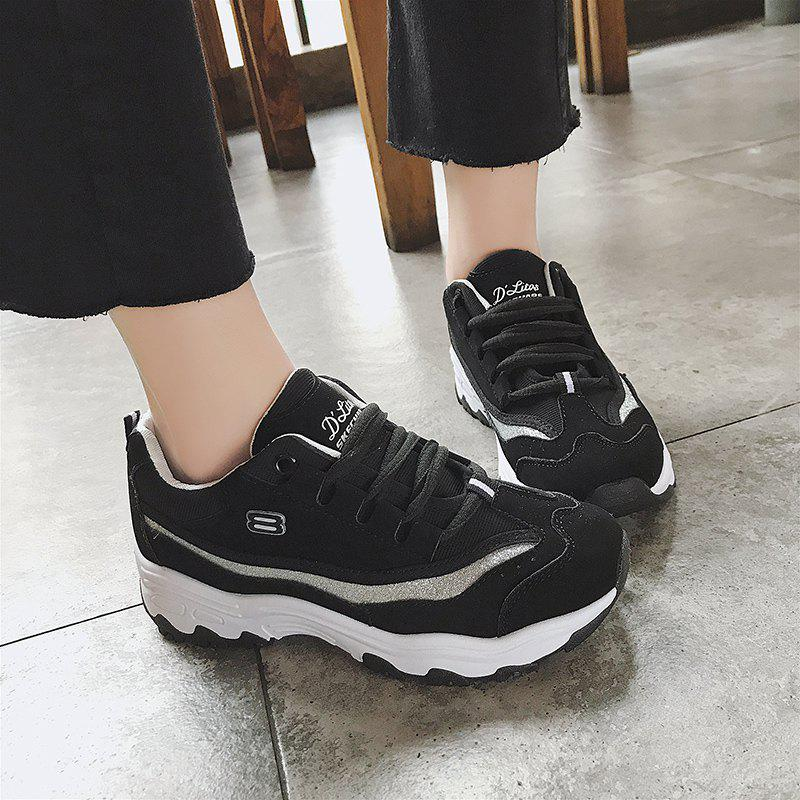 Spring 2018 Round Head Pure Color and Rubber Bottom Sneakers - BLACK 36