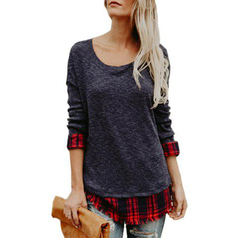 Women's Fashion Round Neck Lattice Stitching Long-Sleeved Sweater - DARK GRAY S