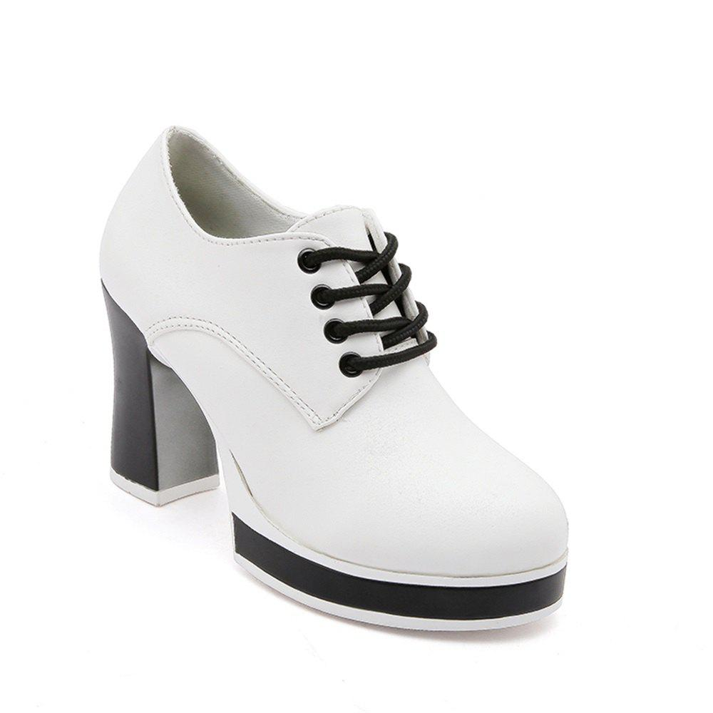 Thick Bottom Waterproof All-Match Lace Up Shoes - WHITE 38