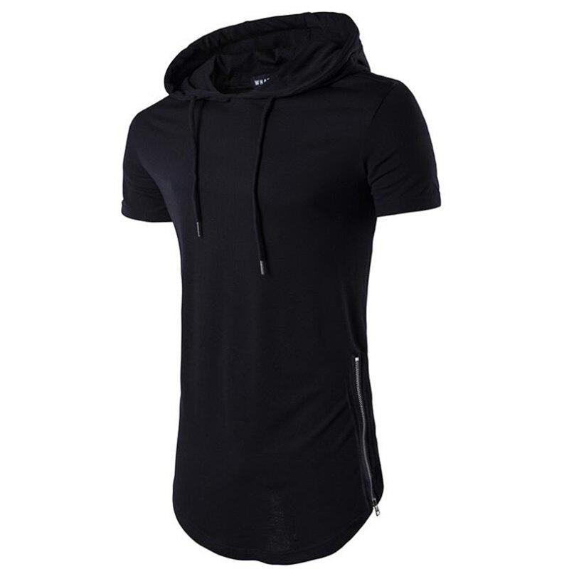 Men's Casual Daily Hooded T-shirt Solid Zipper