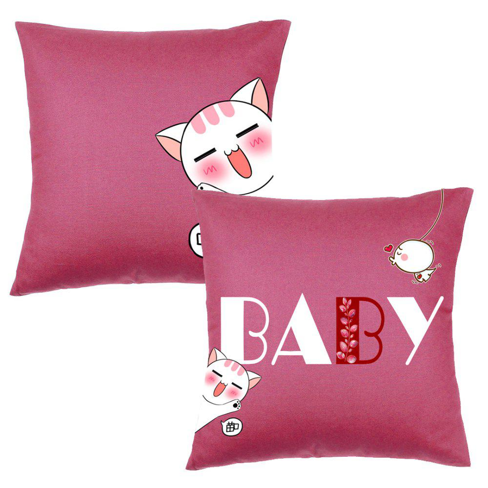 Cartoon Cute Cat Pattern Bedroom Pillow Covers - COLORMIX 45CM*45CM