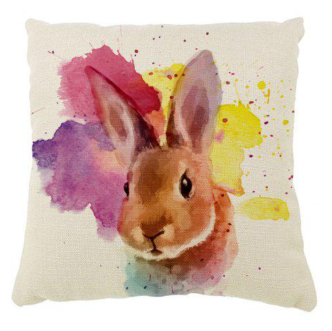 The Rabbit Color Ink Hand-Painted Cotton Cushion Cover Hug Pillow16inch x16inch - COLORMIX 16INCH*16INCH