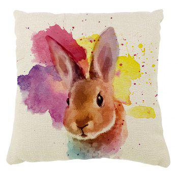 The Rabbit Color Ink Hand-Painted Cotton Cushion Cover Hug Pillow16inch x16inch - COLORMIX COLORMIX
