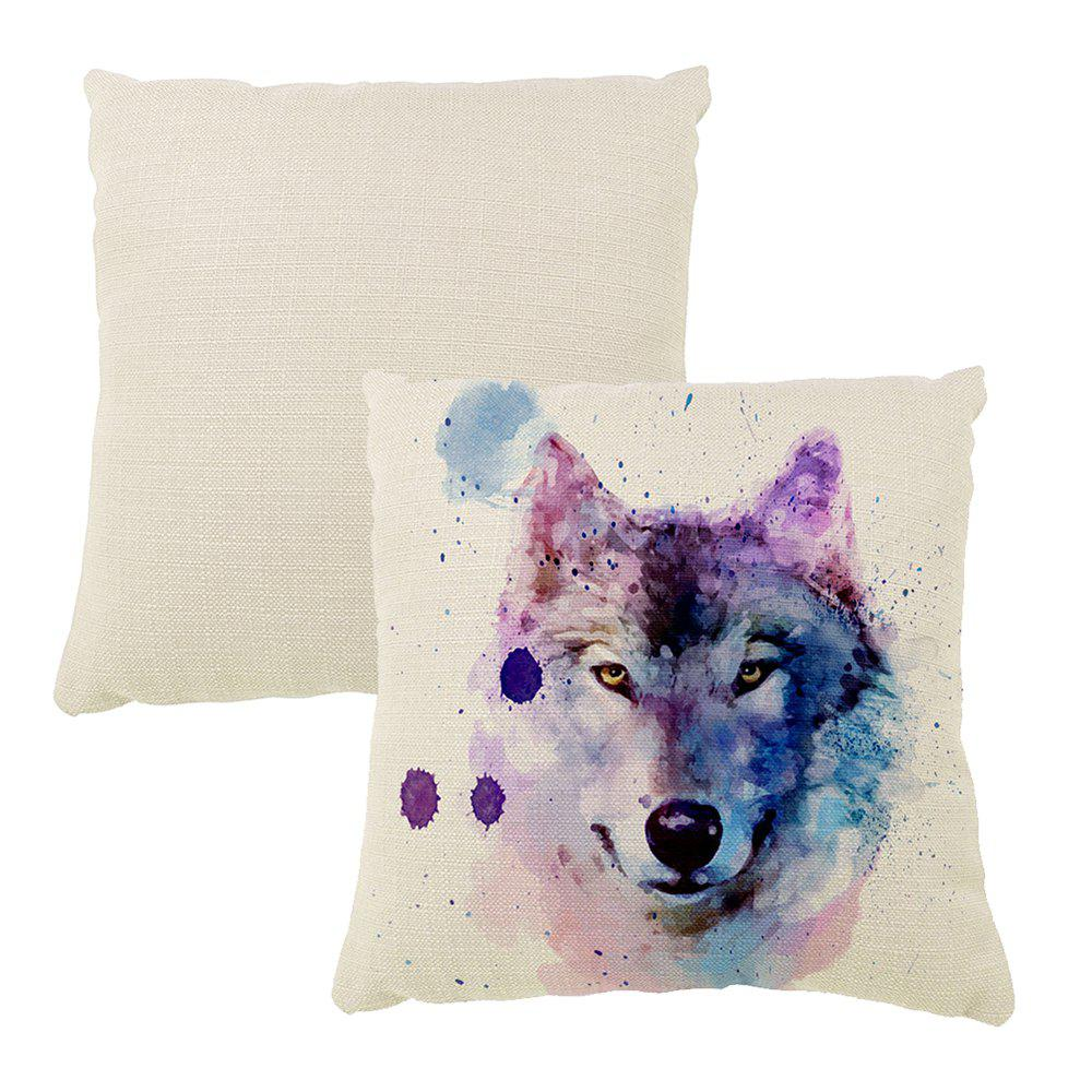 The Wolf Pattern Color Ink Hand-Painted Art Cushion Hug Pillowcase16inch x16inch - PALOMINO 16INCH*16INCH