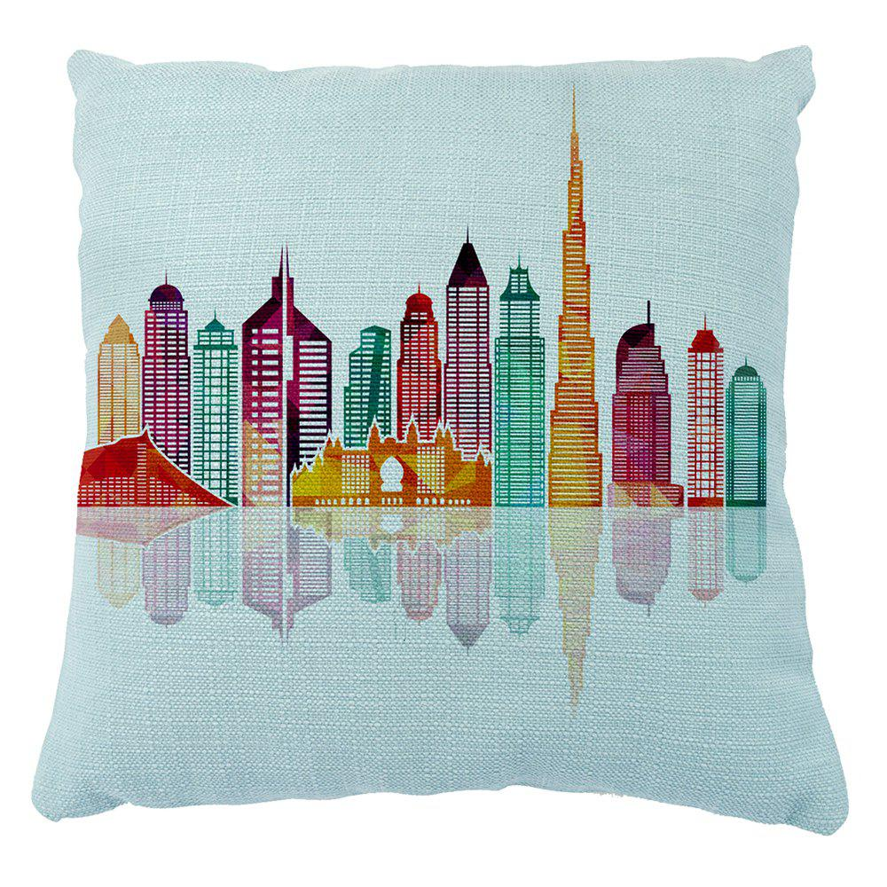 Geometric Pattern City Silhouette Creative Pillowcase 16inchx16inch - LIGHT BULE 16INCH*16INCH