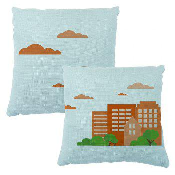 Color Simplified Stereoscopic City Silhouette Cushion Pillowcase16inchx16inch - LIGHT BULE 16INCH*16INCH