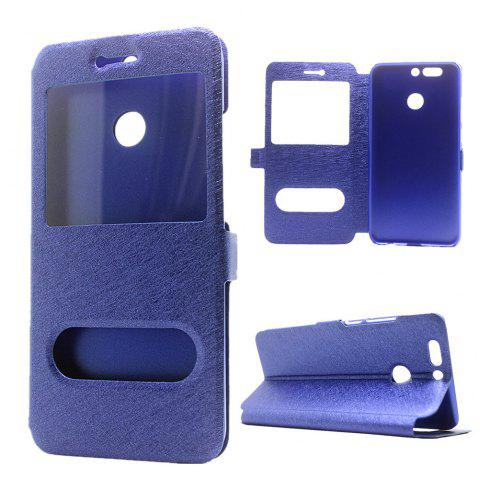 Cover Case for Huawei Honor V9 Slik Pattern Double Open Window Leather - BLUE