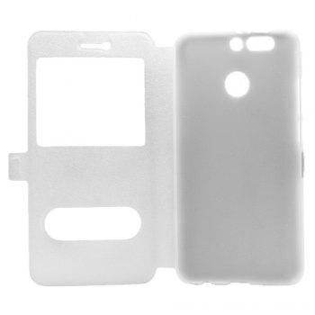 Cover Case for Huawei Honor V9 Slik Pattern Double Open Window Leather - WHITE
