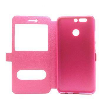 Cover Case for Huawei Honor V9 Slik Pattern Double Open Window Leather - ROSE RED