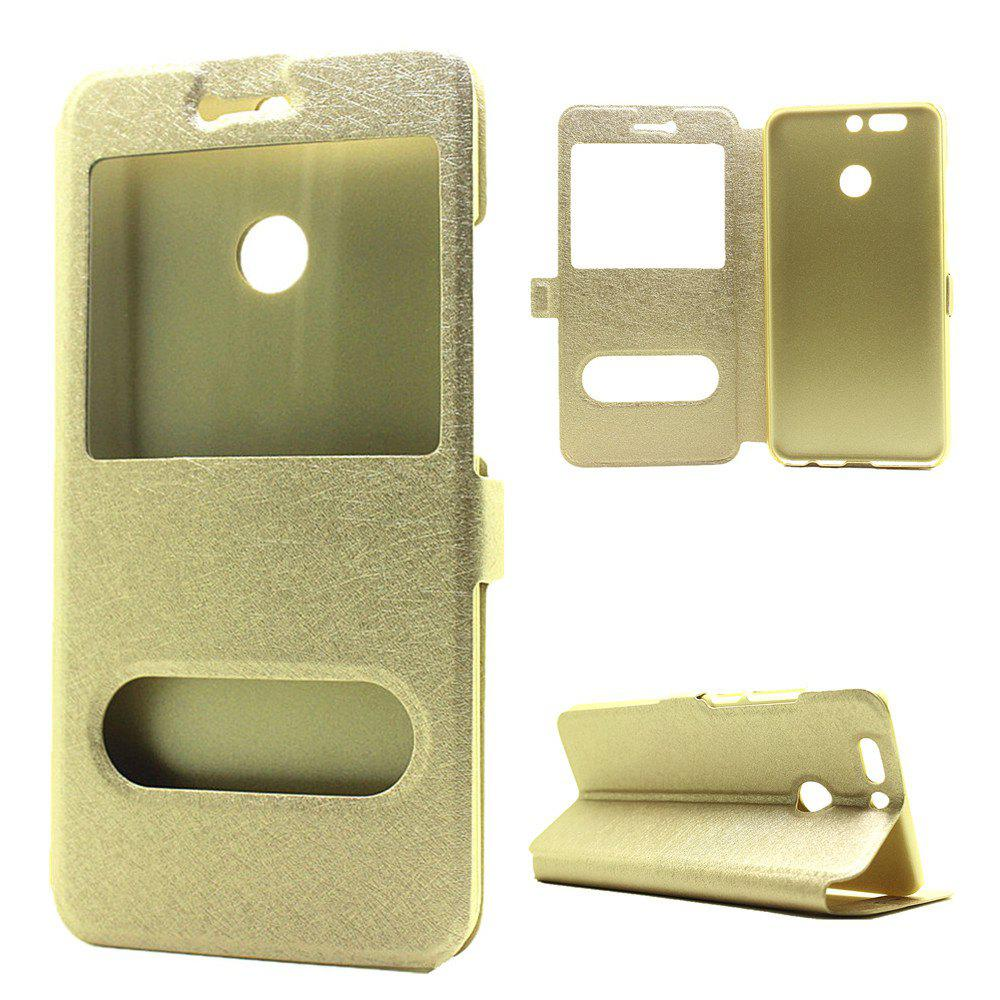 Cover Case for Huawei Honor V9 Slik Pattern Double Open Window Leather - GOLDEN