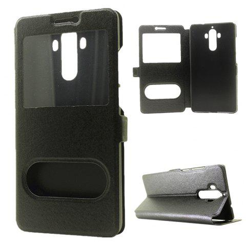 Cover Case for Huawei Mate 9 Slik Pattern Double Open Window Leather - BLACK