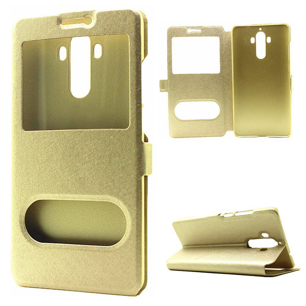 Cover Case for Huawei Mate 9 Slik Pattern Double Open Window Leather - GOLDEN