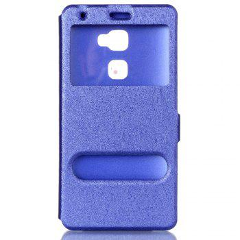Cover Case for Huawei Mate S Slik Pattern Double Open Window Leather - BLUE