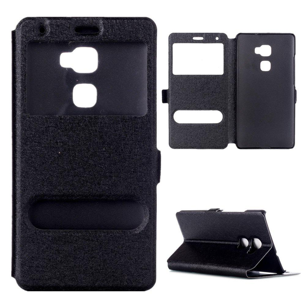 Cover Case for Huawei Mate S Slik Pattern Double Open Window Leather - BLACK