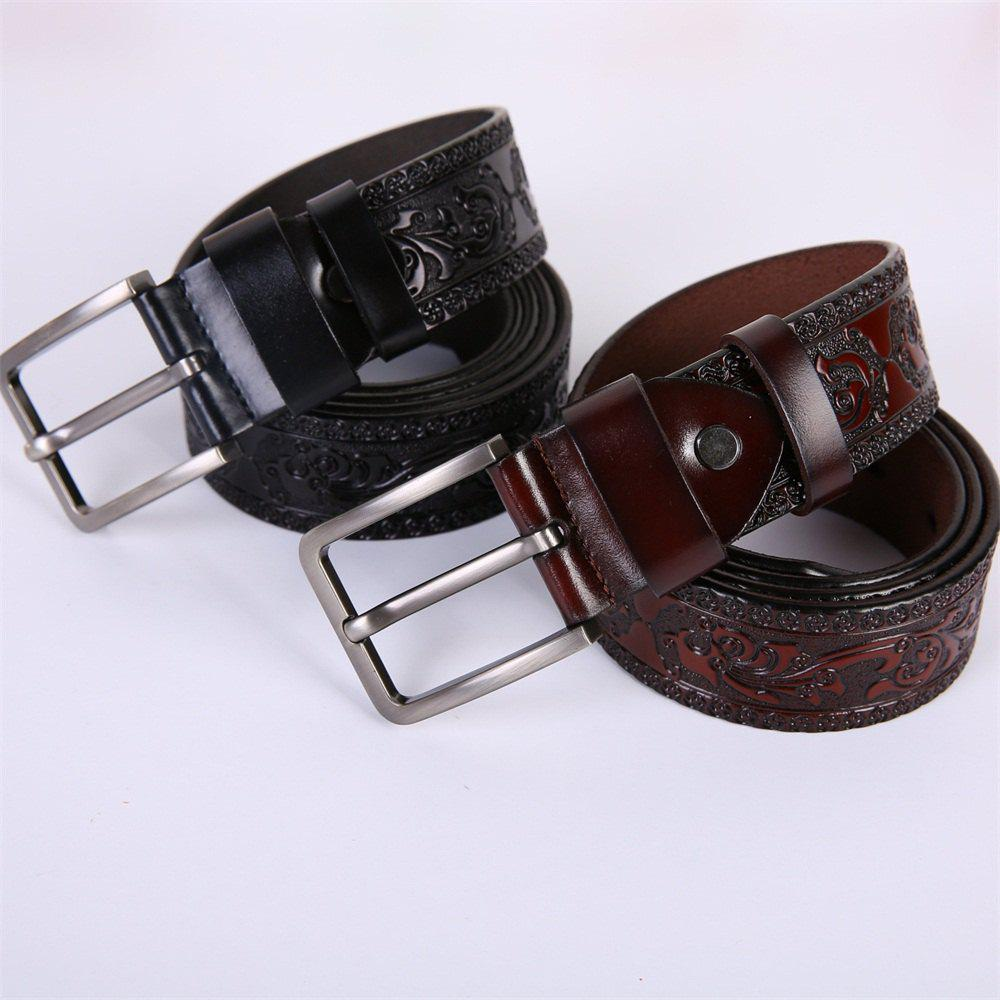 Men'S Steel Buckle Leather Pattern Belt - BROWN LEATHER BAND