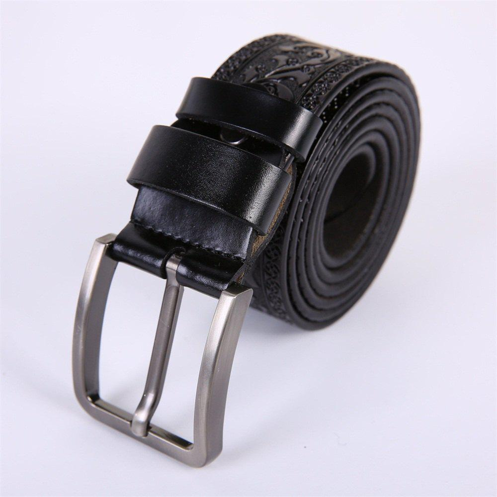 Men'S Steel Buckle Leather Pattern Belt - BLACK LEATHER BAND