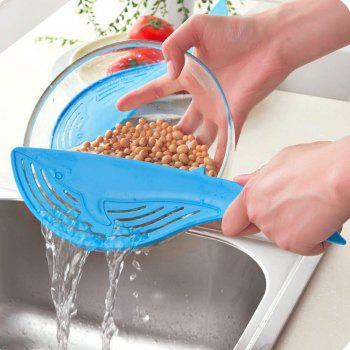 Cooking Tools Kitchen Tool The Whale Shaped Handle Type Water Filter Frame Rice Washer Creative - BLUE