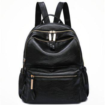 PU Leather Women Backpack Fashion Solid School