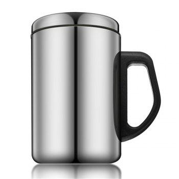 350ML/500ML Non-Magnetic Stainless Steel Insulated Thermal Tea Water Thermo Mug Double Layers Readily Insulated Thermo-C - SILVER SILVER