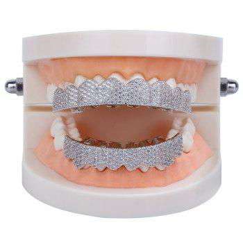 Hip Hop 18K Gold Plated Micro Pave Cubic Zircon Teeth Grillz - SILVER