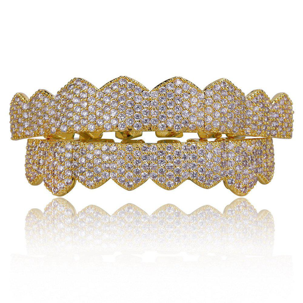 Hip Hop 18K Gold Plated Micro Pave Cubic Zircon Teeth Grillz - GOLDEN