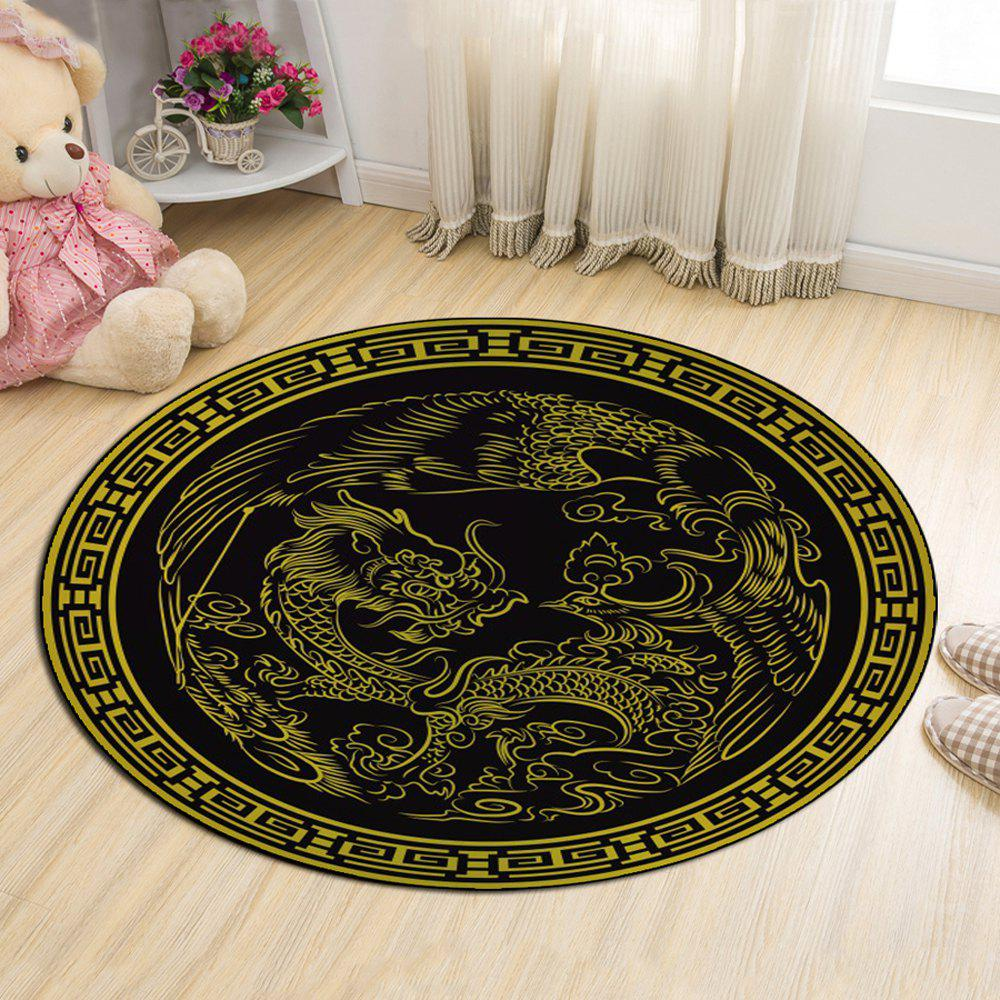 Cloakroom Floor Mat Dragon Pattern Antiskid Round Door Mat