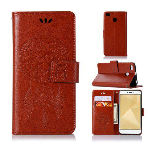 Owl Campanula Fashion Wallet Cover For Xiaomi Redmi 4X Phone Bag With Stand PU Extravagant Retro Flip Leather Case - BROWN