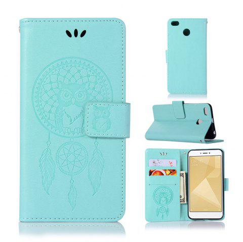 Owl Campanula Fashion Wallet Cover For Xiaomi Redmi 4X Phone Bag With Stand PU Extravagant Retro Flip Leather Case - GREEN