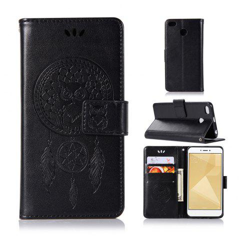 Owl Campanula Fashion Wallet Cover For Xiaomi Redmi 4X Phone Bag With Stand PU Extravagant Retro Flip Leather Case - BLACK
