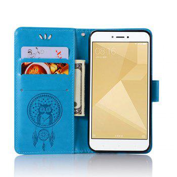 Owl Campanula Fashion Wallet Cover For Xiaomi Redmi 4X Phone Bag With Stand PU Extravagant Retro Flip Leather Case - BLUE