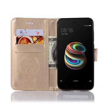 Owl Campanula Fashion Wallet Cover For Xiaomi Redmi 5A Phone Bag With Stand PU Extravagant Retro Flip Leather Case - GOLDEN