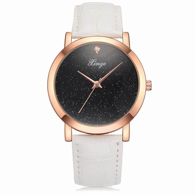 Xinge XG1095 Women Leather Band Starry Sky Quartz Watches with Box - WHITE