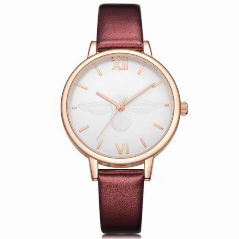 Xinge XG1097 Women Leather Strap Bee Dial Quartz Watches with Box - RED