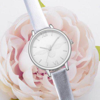 Xinge XG1097 Women Leather Strap Bee Dial Quartz Watches with Box - SILVER