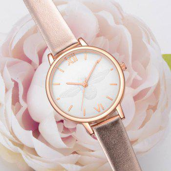 Xinge XG1097 Women Leather Strap Bee Dial Quartz Watches with Box - GOLDEN