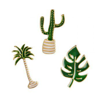 Cartoon Plant Green Brooch Leaves Potted Cactus Palm Plants Metal Pins Clothing Fashion Button Pin Badge Gift Jewelry - GREEN GREEN