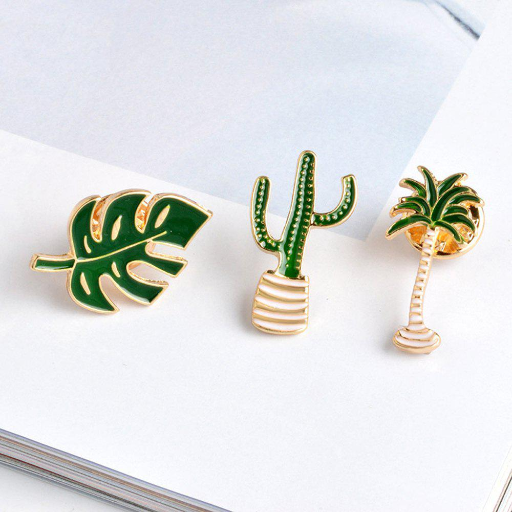 Cartoon Plant Green Brooch Leaves Potted Cactus Palm Plants Metal Pins Clothing Fashion Button Pin Badge Gift Jewelry - GREEN