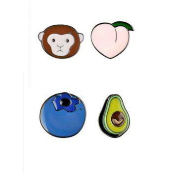 Cute Monkey Blueberry Alloy Peach Avocado Oil Metal Brooch, Jewelry Brooch Wholesale Decoration For Women Gift - BLUE BLUE
