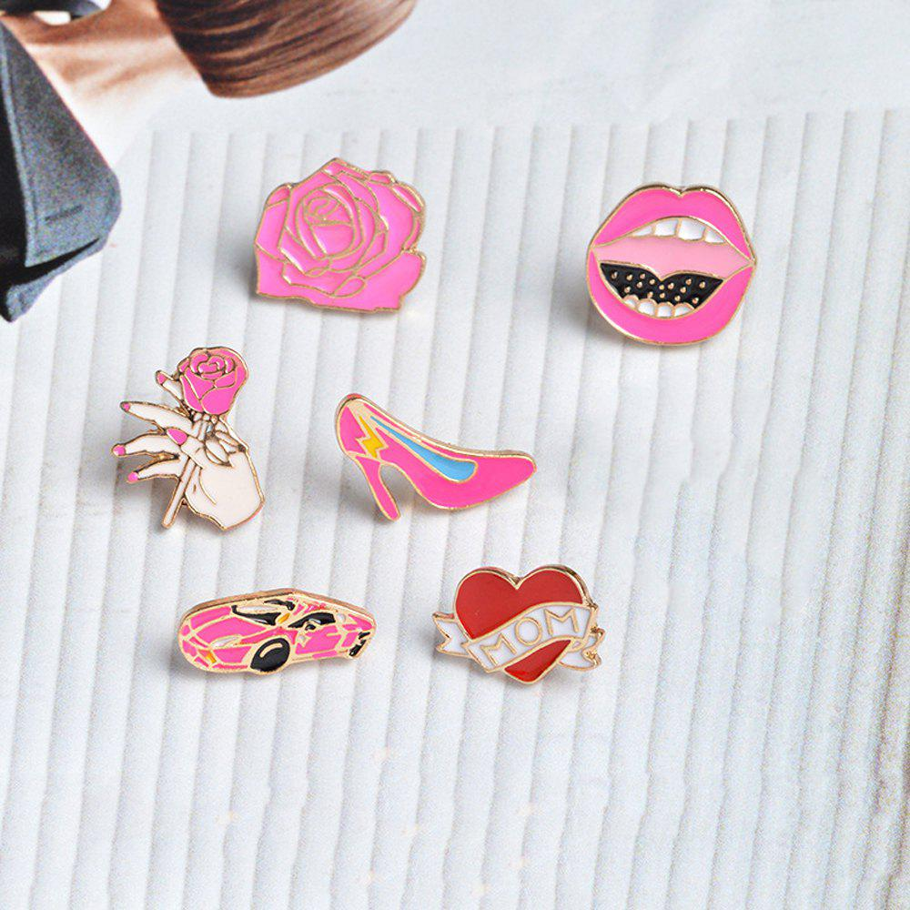 Car Rose Heart High Heels Lips ShoesBrooches Pins Button Denim Jacket Badge Pin for Shirt Bag Gift Jewelry - RED