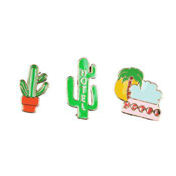 Summer Enamel Brooch Set for Women Cactus Beach Style Set Brooch Necklace Women Jewelry - IVY IVY