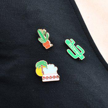 Summer Enamel Brooch Set for Women Cactus Beach Style Set Brooch Necklace Women Jewelry -  IVY