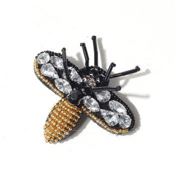 New Arrivals Cartoon Handmade Embroidery Bee Party Jewelry Design Clothes Brooch for Women Gift - BLACK BLACK
