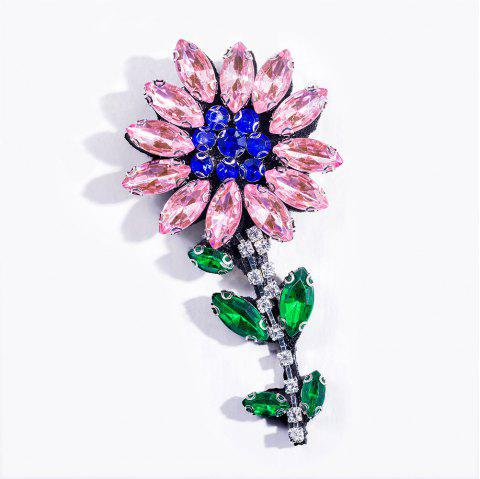 Fashion Handmade Shiny Crystal Flower Brooch Brooches Colorful Summer Style For Women Party Jewelry - PINK