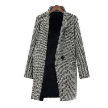 Women's Daily Simple Vintage Casual Street Chic Winter Print Peter Pan Collar Long Sleeve Coat - GRAY M