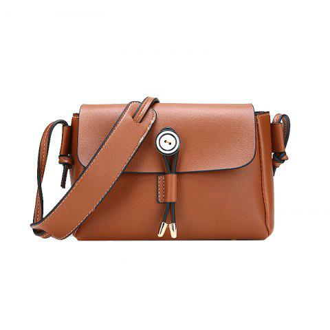 Solid Color Wild Shoulder Bag Simple Retro Messenger Small Square Package - BROWN