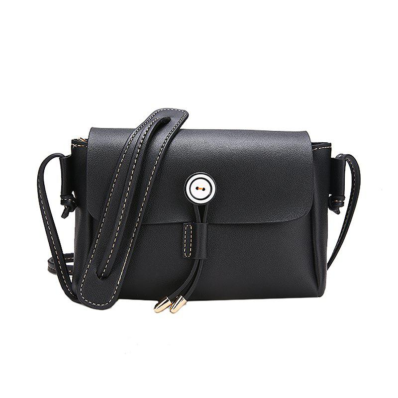 Solid Color Wild Shoulder Bag Simple Retro Messenger Small Square Package - BLACK