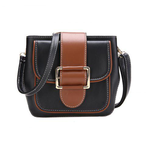 Fashion Hit Color Shoulder Bag Simple Wild Messenger Bag Lock Small Square Package - BLACK