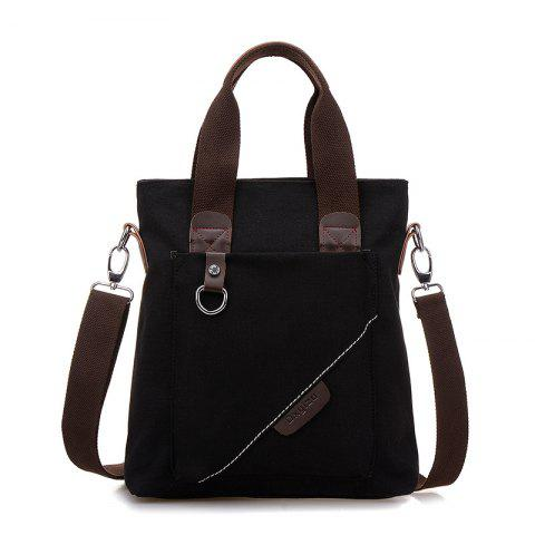 Canvas Retro Backpack Messenger Bag Cross Bag Briefcase Bag - BLACK